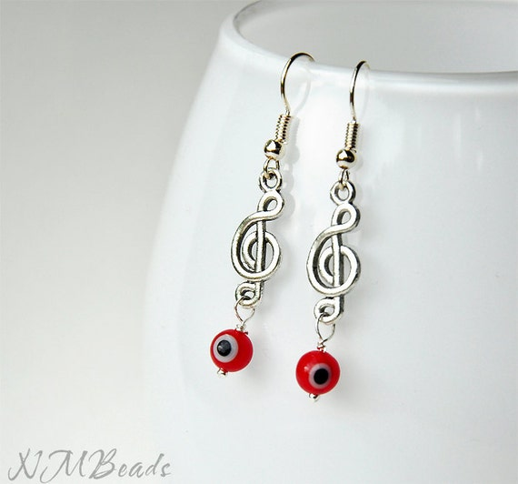 Music Jewelry, Treble Clef Red Evil Eye Earrings and Bracelet, Musician Gift, Sale Jewelry