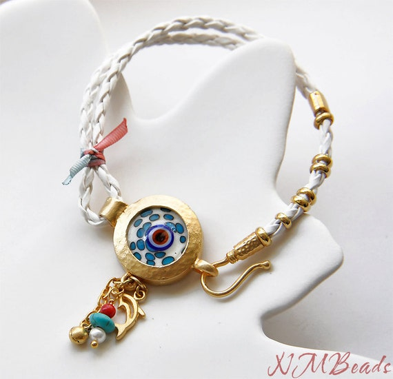 RESERVED-Braided White Leather Ceramic Evil Eye Bracelet With Charms-Gold Plated- Good Luck Bracelet-Sale