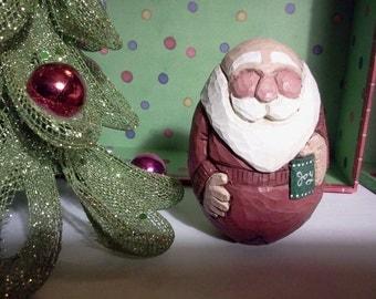 Santa in Long Underwear Woodcarving