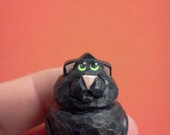 Black Cat Teeny Woodcarving