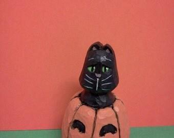 Carved Black Cat in Pumpkin