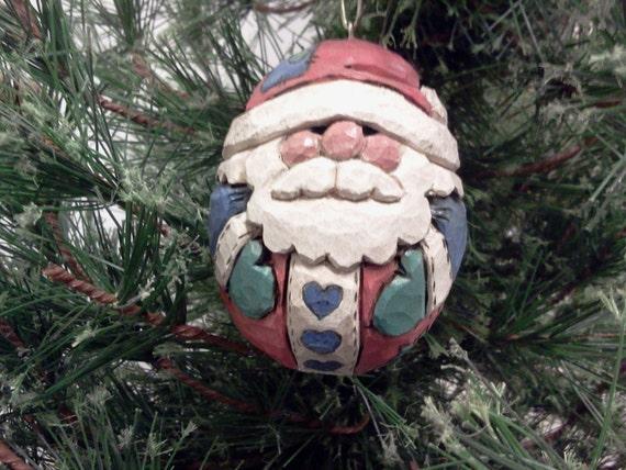 Carved Folk Art Santa Ornament