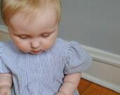 6-12 months, seersucker dress, 100% cotton, baby girl dress
