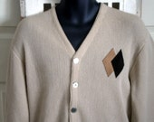 Vintage 50s Rockabilly Sweater Cardigan. Shell buttons. Suede Diamonds //  S M / chest 42""