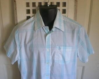 Vintage Mens Summer Plaid Shirt. The Penguin by Munsingwear. Button Up. Prep. Chest 42 // M