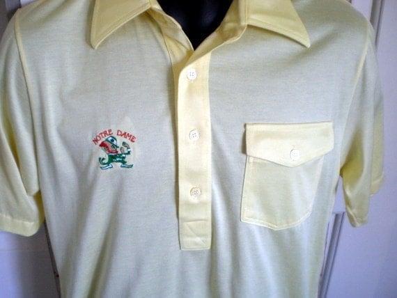 Vintage 70s polo shirt notre dame fighting irish golf shirt for Notre dame golf shirts