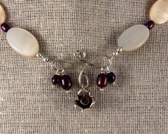 Silver rose necklace with burgundy and mother of pearl