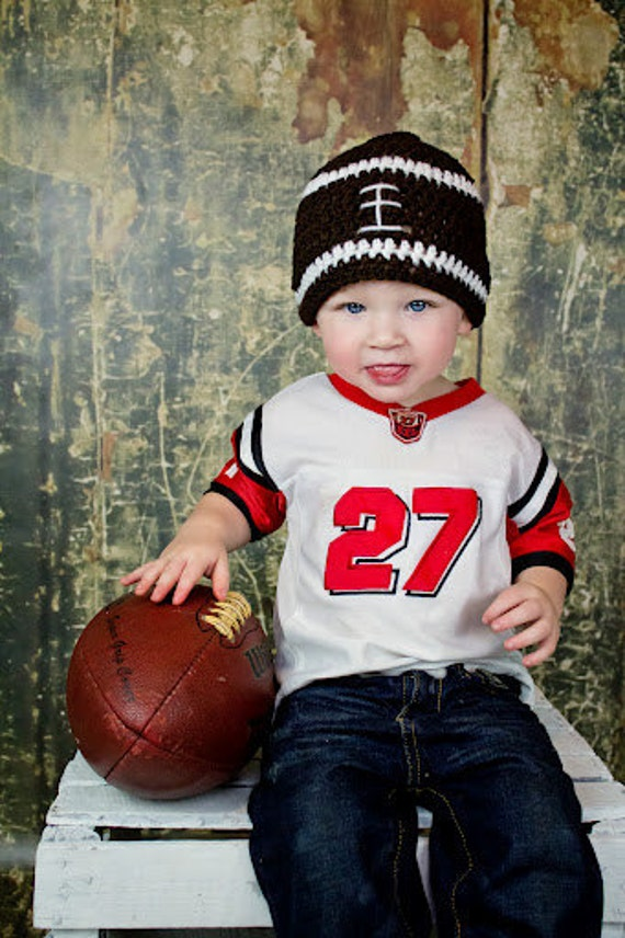 Baby boy crochet football beanie, sports, team, brown and  white, photo prop