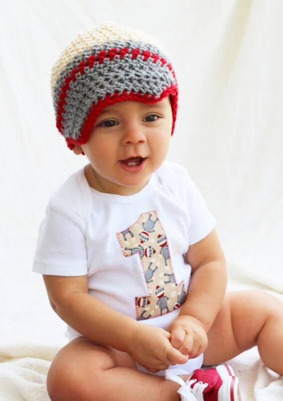 Baby boy 1st Birthday outfit one piece bodysuit and crochet