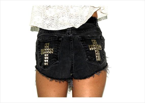 vintage high waist slashed and studded black denim shorts with cross