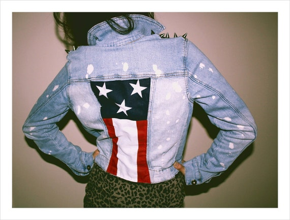 americana studded denim jacket with brass spikes american flag stars and stripes vintage acid wash bleach spots reconstructed