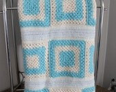 Granny Squares Afghan, Shades of Blue, Throw
