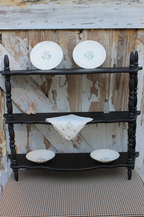 RESERVED for JOYE  Black Three Tier Wall Shelf Distressed Plate Grooves Rustic Farmhouse Shabby Chic