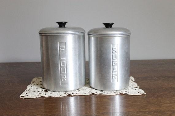 aluminum kitchen canisters flour sugar by jerseyfreshvintage