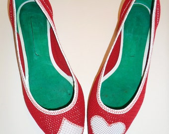 Kawaii - Anime Japanese vintage avatar crimson mesh ballet flats- hearts and  diamonds: size US8= EU 38-38.5
