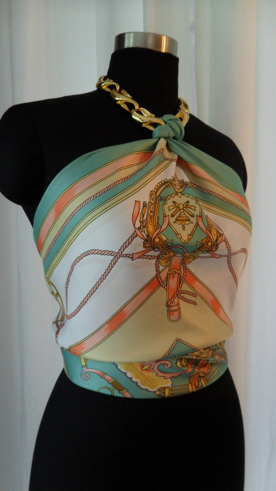 Summer sherbet coloured Hermes-esque esquestrian motif scarf upcycled as retro elegant halter:one size fits all