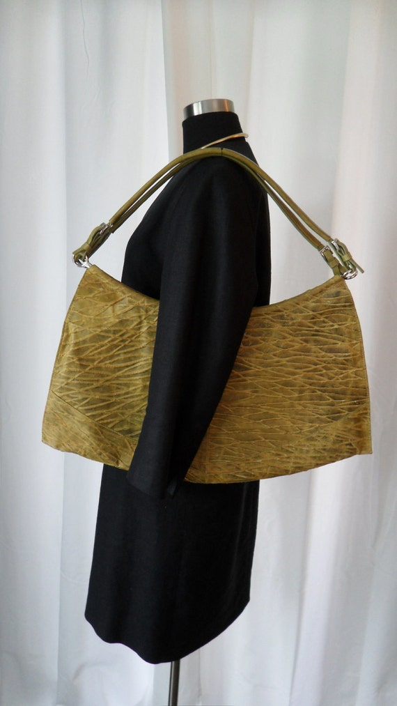 Avant Garde modernist architectural citron yellow green textured leather shoulder purse: so unusual...
