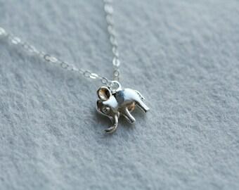 Tiny Lucky Elephant Sterling Silver Necklace,Birthday Gift,Best Friends,Wedding,Everyday Jewelry,Dainty,Anniversary,Sisterhood