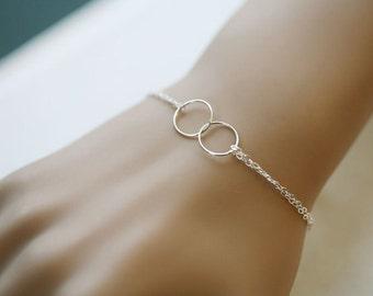 Sterling Silver Double circle bracelet,Eternity love circle,karma circle,Sisterhood gift,Best Friend gift,Wedding jewelry,Bridesmaid gifts