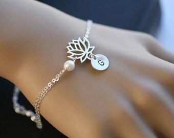 Lotus Bracelet,pearl flower bracelet,initial bracelet,hand stamped initial,monogram bracelet,bridesmaid gift,birthday gift,yoga jewelry