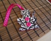 Black and White and Hot Pink Colorful Decoupage Wooden Kitty Tag