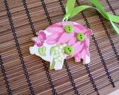 Pretty Springtime Colorful Decoupage Wooden Piggy Tag
