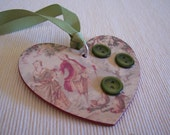 Romantic Toile Decoupage Wooden Heart Tag