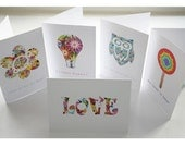 Multi Pack Hippy Cards - Hand Crafted Cards Pack with 1960's Hippie Theme