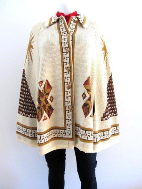 Vintage Aztec Indian Knit Cape