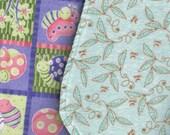 2 100% cotton Burp Cloths.  Leaves, Dragonflies, Ladybugs, Flowers, Snails, Bees.