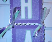 Vertical Hanging White/Purple/light Green/Silver Colors Name Banner - Customize colors and name