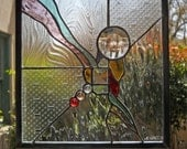 Abstract 1 - Stained glass panel square window hanging with clear and colored textured glass and bevels