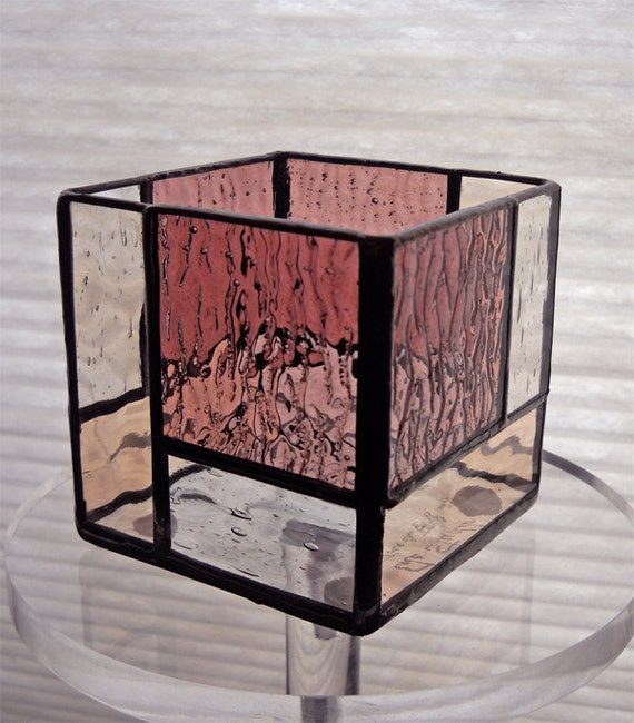 Small  stained glass candle holder pink/clear