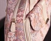 beige & floral mixed media handbag