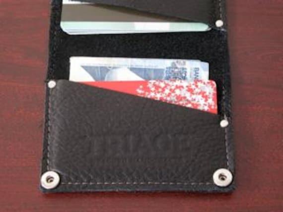 Reclaimed Handmade Leather Wallet Cardholder - Soft Black