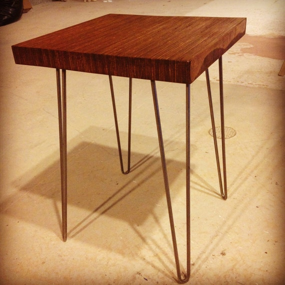 End grain modern side table on eames style hairpin by for Plywood table hairpin legs