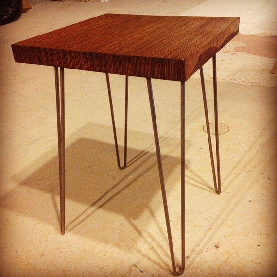 End-grain, Modern side table on Eames-style hairpin legs