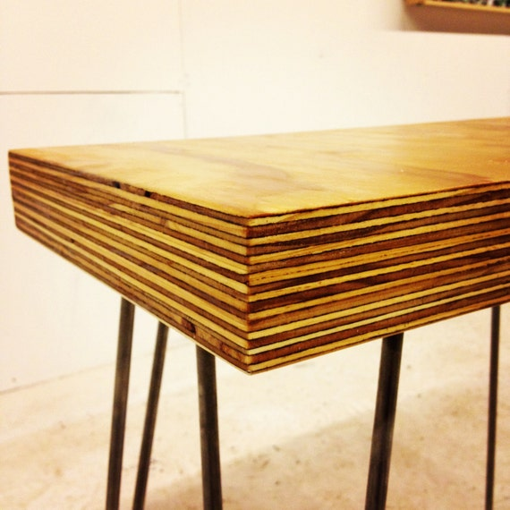 Modern side table with end-grain on hairpin legs