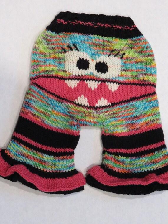 Hand Knit Wool Shorties - Monster - Soaker
