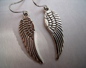 Angelic earrings, angels wings in silver