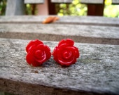 Earrings, red rose, studs