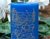 Ocean Breeze Scented Pillar Candle with Stamped Design
