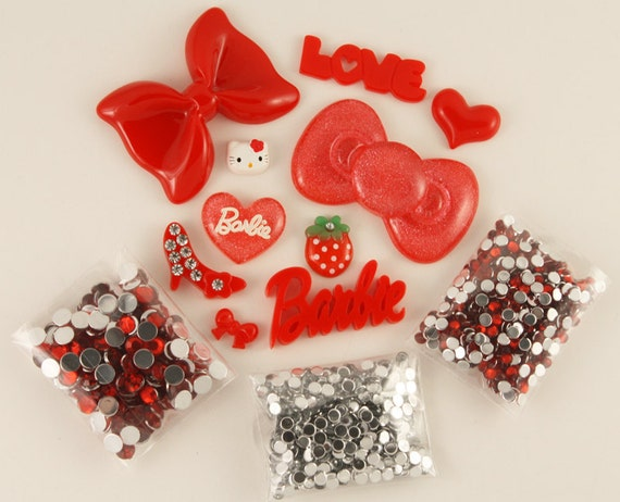 """Kawaii """"glitz"""" RED DIY deco kit to bling out your phone - Set 144B"""