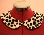 Dalmatian print fur detachable peter pan collar