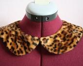 Leopard print fur detachable peter pan collar