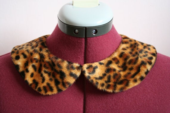 Leopard print fur detachable peter pan collar
