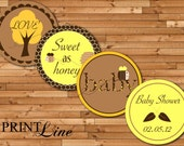 "Bee Cupcake Toppers  - 2"" Decorative Circles - Yellow and Brown Bee Collection - DIY Customized Printable"