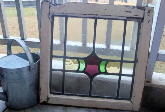 Stained Glass Window with frame, Antique Japanese -shabby chic-