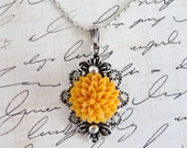 Free Domestic Shipping....Vintage Inspired Shabby Chic Mustard Yellow Mum Silver Tone  Antique Silver Tone Necklace Wedding Shabby Chic (B)