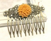 Pretty Detailed Mustard Yellow Chrysanthemum Hair Comb Vintage Style Shabby Chic Brass Filigree Flower Antique Bronze (d)